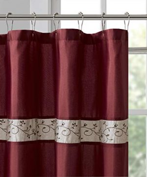Madison Park Serene Flora Fabric Embroidered Transitional Shower Curtains For Bathroom 72 X 84 Red 0 1 300x360