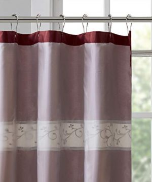 Madison Park Serene Flora Fabric Embroidered Transitional Shower Curtains For Bathroom 72 X 84 Red 0 2 300x360