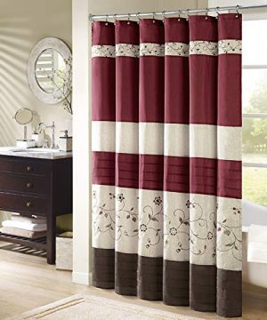 Madison Park Serene Flora Fabric Embroidered Transitional Shower Curtains For Bathroom 72 X 84 Red 0 300x360