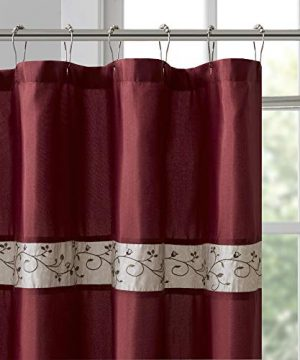 Madison Park Serene Flora Fabric Shower Curtain Embroidered Transitional Shower Curtains For Bathroom 72 X 96 Red 0 0 300x360