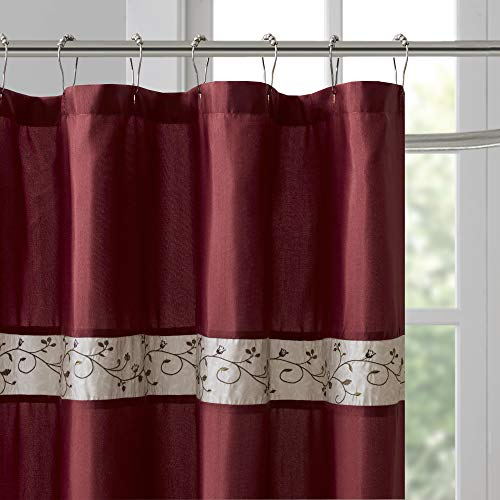 Madison Park Serene Flora Fabric Shower Curtain Embroidered Transitional Shower Curtains For Bathroom 72 X 96 Red 0 0
