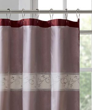 Madison Park Serene Flora Fabric Shower Curtain Embroidered Transitional Shower Curtains For Bathroom 72 X 96 Red 0 1 300x360