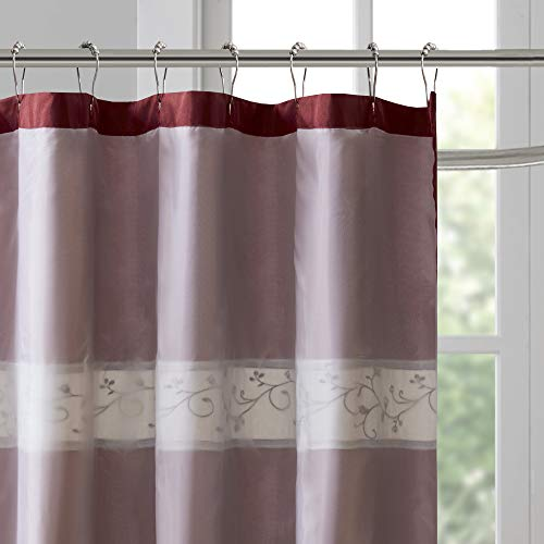 Madison Park Serene Flora Fabric Shower Curtain Embroidered Transitional Shower Curtains For Bathroom 72 X 96 Red 0 1