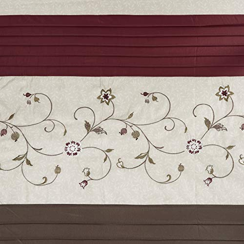 Madison Park Serene Flora Fabric Shower Curtain Embroidered Transitional Shower Curtains For Bathroom 72 X 96 Red 0 2