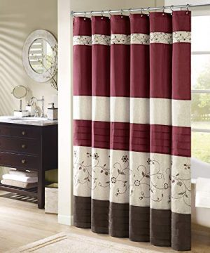 Madison Park Serene Flora Fabric Shower Curtain Embroidered Transitional Shower Curtains For Bathroom 72 X 96 Red 0 300x360