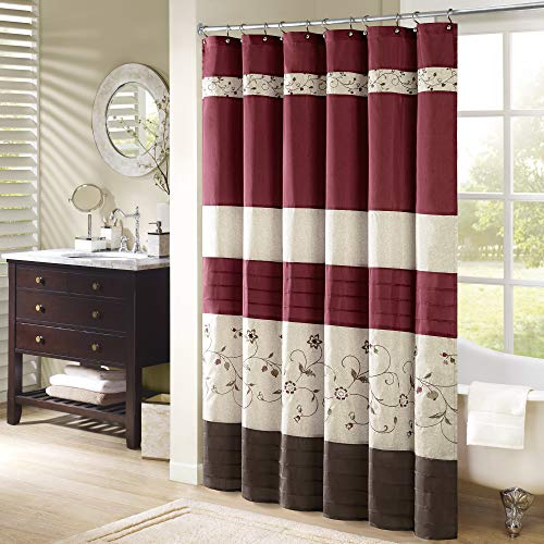 Madison Park Serene Flora Fabric Shower Curtain Embroidered Transitional Shower Curtains For Bathroom 72 X 96 Red 0