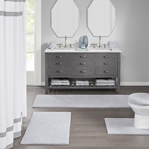 Madison Park Signature Marshmallow Quick Dry Non Slip Absorbent Ultra Soft Bath Mat Bathroom Rugs 24X72 Inches Grey 0