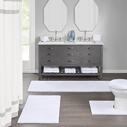 Madison Park Signature Marshmallow Quick Dry Non Slip Absorbent Ultra Soft Bath Mat Bathroom Rugs 24X72 Inches White 0