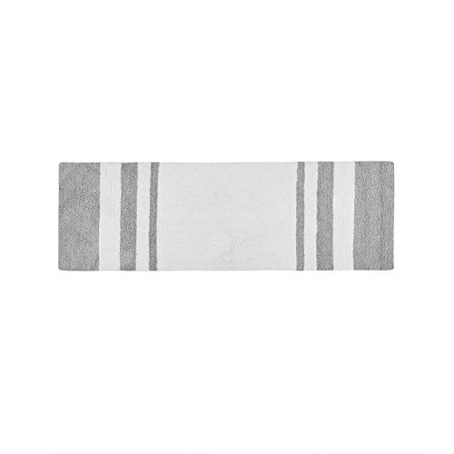 Madison Park Spa Reversible Cotton Bath Mat Casual Striped Water Absorbent Bathroom Rugs 24X72 Grey 0 0
