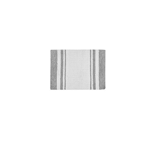 Madison Park Spa Reversible Cotton Bath Mat Casual Striped Water Absorbent Bathroom Rugs 24X72 Grey 0 4