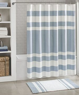 Madison Park Spa Waffle Weave Striped Fabric Classic Shower Curtains For Bathroom 72 X 84 Blue Tall 72x84 0 0 300x360