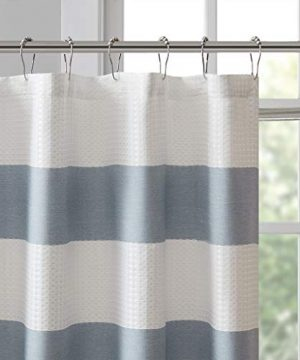 Madison Park Spa Waffle Weave Striped Fabric Classic Shower Curtains For Bathroom 72 X 84 Blue Tall 72x84 0 1 300x360