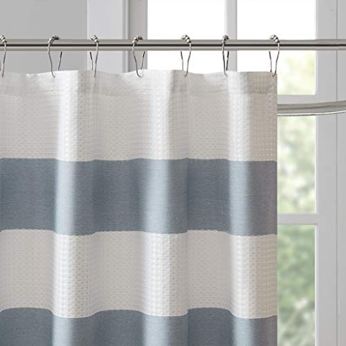 Madison Park Spa Waffle Weave Striped Fabric Classic Shower Curtains For Bathroom 72 X 84 Blue Tall 72x84 0 1