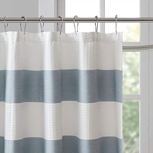 Madison Park Spa Waffle Weave Striped Fabric Classic Shower Curtains For Bathroom 72 X 84 Blue Tall 72x84 0 2