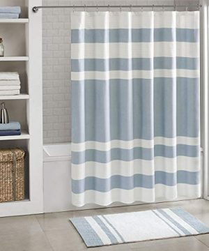 Madison Park Spa Waffle Weave Striped Fabric Classic Shower Curtains For Bathroom 72 X 84 Blue Tall 72x84 0 300x360