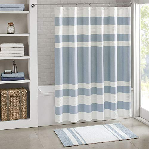 Madison Park Spa Waffle Weave Striped Fabric Classic Shower Curtains For Bathroom 72 X 84 Blue Tall 72x84 0