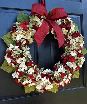 Marbled Hydrangea Christmas Wreath For Holiday Front Door Decor 0 0 300x360