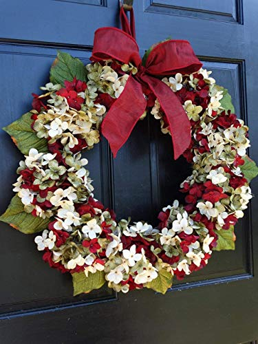 Marbled Hydrangea Christmas Wreath For Holiday Front Door Decor 0 0