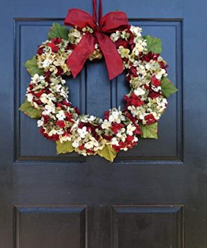 Marbled Hydrangea Christmas Wreath For Holiday Front Door Decor 0 2 300x360