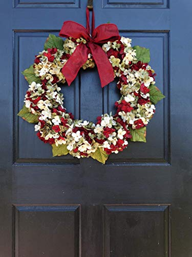 Marbled Hydrangea Christmas Wreath For Holiday Front Door Decor 0 2