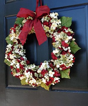 Marbled Hydrangea Christmas Wreath For Holiday Front Door Decor 0 3 300x360