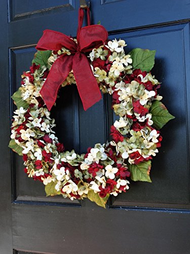 Marbled Hydrangea Christmas Wreath For Holiday Front Door Decor 0 3