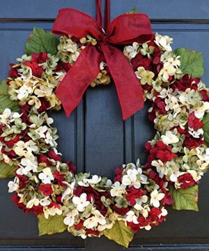 Marbled Hydrangea Christmas Wreath For Holiday Front Door Decor 0 300x360
