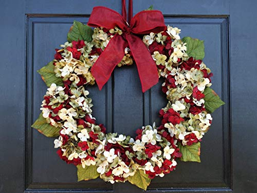 Marbled Hydrangea Christmas Wreath For Holiday Front Door Decor 0 4