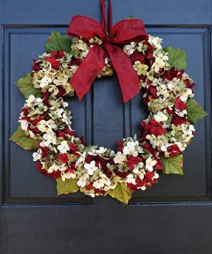 Marbled Hydrangea Christmas Wreath For Holiday Front Door Decor 0 5 300x360