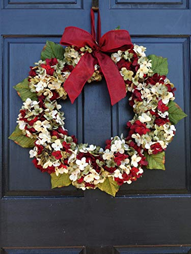 Marbled Hydrangea Christmas Wreath For Holiday Front Door Decor 0 5