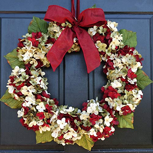 Marbled Hydrangea Christmas Wreath For Holiday Front Door Decor 0