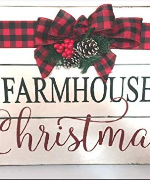 MarthaFox Farmhouse Christmas Wood Sign Modern Farmhouse Style Buffalo Check Bow And Greenery 0 300x360