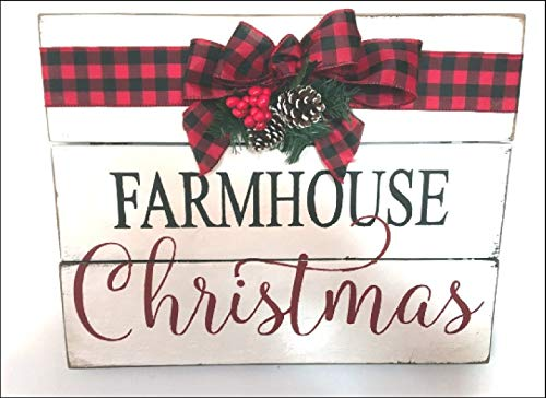 MarthaFox Farmhouse Christmas Wood Sign Modern Farmhouse Style Buffalo Check Bow And Greenery 0