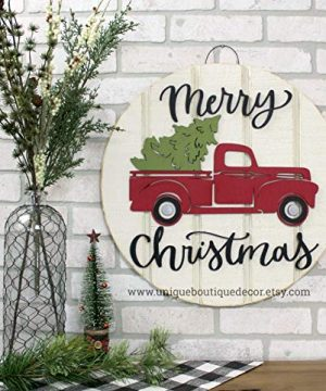 MarthaFox Vintage Red Truck Christmas Door Sign Farmhouse Christmas Decor Merry Christmas Door Hanger Rustic Christmas Wreath 195 0 300x360