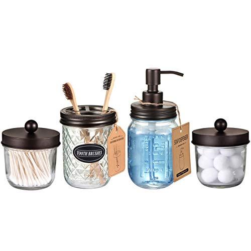 Mason Jar Bathroom Accessories Set4 Pack Bronze Lotion Soap DispenserQtip Holder SetToothbrush Holder Rustic Farmhouse Decor Apothecary Jar Bathroom CountertopVanity Organize Bronze 0