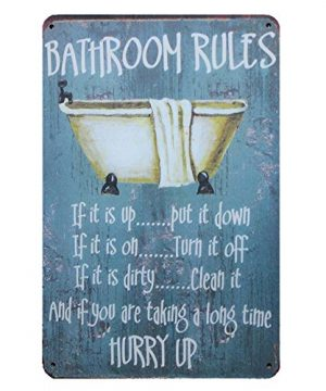 Mega Deal Bathroom Rules Rustic Bathroom Decor Vintage Wall Tin Sign 12 X 8 0 300x360
