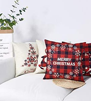 Mimacoo 18x18 Christmas Throw Pillow Covers Decorative Outdoor Farmhouse Merry Christmas Xmas Christmas Tree Pillow Shams Cases Slipcovers Set Of 4 For Couch Sofa 0 0 300x333