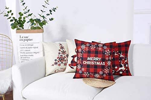 Mimacoo 18x18 Christmas Throw Pillow Covers Decorative Outdoor Farmhouse Merry Christmas Xmas Christmas Tree Pillow Shams Cases Slipcovers Set Of 4 For Couch Sofa 0 0