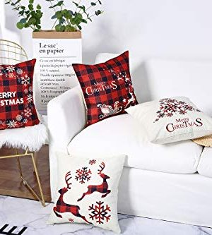 Mimacoo 18x18 Christmas Throw Pillow Covers Decorative Outdoor Farmhouse Merry Christmas Xmas Christmas Tree Pillow Shams Cases Slipcovers Set Of 4 For Couch Sofa 0 1 300x333