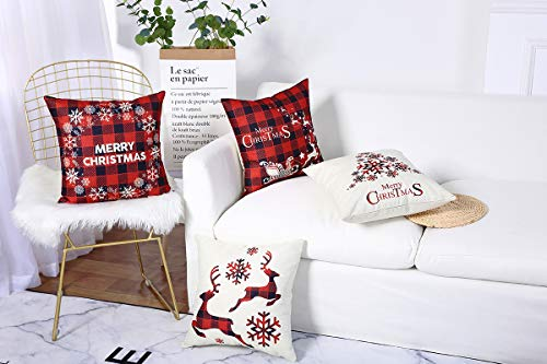 Mimacoo 18x18 Christmas Throw Pillow Covers Decorative Outdoor Farmhouse Merry Christmas Xmas Christmas Tree Pillow Shams Cases Slipcovers Set Of 4 For Couch Sofa 0 1