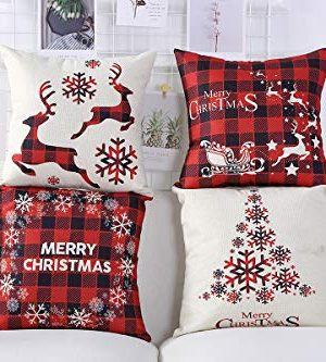Mimacoo 18x18 Christmas Throw Pillow Covers Decorative Outdoor Farmhouse Merry Christmas Xmas Christmas Tree Pillow Shams Cases Slipcovers Set Of 4 For Couch Sofa 0 2 300x333