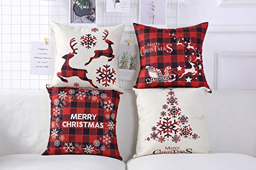 Mimacoo 18x18 Christmas Throw Pillow Covers Decorative Outdoor Farmhouse Merry Christmas Xmas Christmas Tree Pillow Shams Cases Slipcovers Set Of 4 For Couch Sofa 0 2