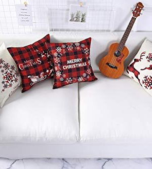 Mimacoo 18x18 Christmas Throw Pillow Covers Decorative Outdoor Farmhouse Merry Christmas Xmas Christmas Tree Pillow Shams Cases Slipcovers Set Of 4 For Couch Sofa 0 3 300x333