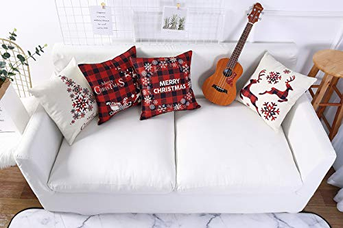 Mimacoo 18x18 Christmas Throw Pillow Covers Decorative Outdoor Farmhouse Merry Christmas Xmas Christmas Tree Pillow Shams Cases Slipcovers Set Of 4 For Couch Sofa 0 3