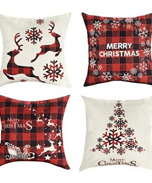 Mimacoo 18x18 Christmas Throw Pillow Covers Decorative Outdoor Farmhouse Merry Christmas Xmas Christmas Tree Pillow Shams Cases Slipcovers Set Of 4 For Couch Sofa 0 300x360
