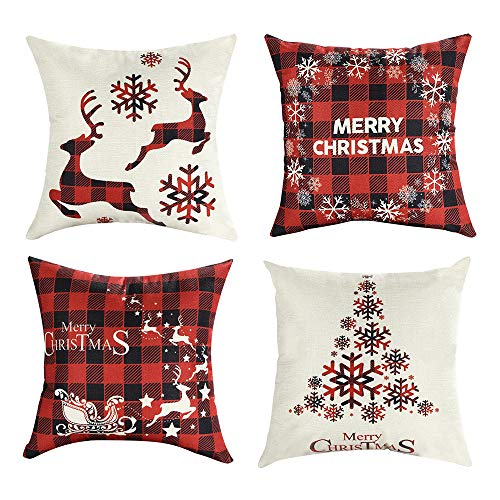 Mimacoo 18x18 Christmas Throw Pillow Covers Decorative Outdoor Farmhouse Merry Christmas Xmas Christmas Tree Pillow Shams Cases Slipcovers Set Of 4 For Couch Sofa 0