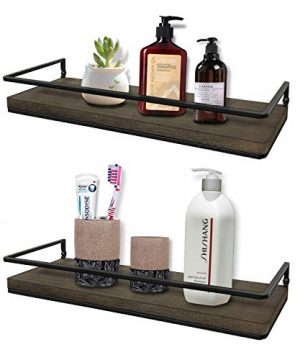 Minggoo Floating Shelves Wall Mounted Set Of 2 Rustic Wood Wall Storage Shelves For BedroomLiving RoomBathroom Kitchen 0 300x360