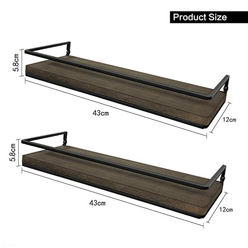Minggoo Floating Shelves Wall Mounted Set Of 2 Rustic Wood Wall Storage Shelves For BedroomLiving RoomBathroom Kitchen 0 4