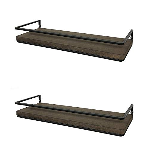 Meangood Floating Shelves Wall Mounted Set Of 2, Rustic Wood Wall Storage Shelves For Bedroom,Living Room,Bathroom… - Farmhouse Goals