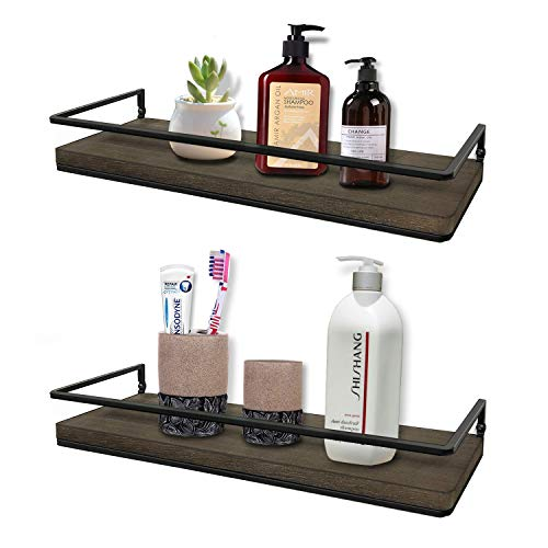 Minggoo Floating Shelves Wall Mounted Set Of 2 Rustic Wood Wall Storage Shelves For BedroomLiving RoomBathroom Kitchen 0